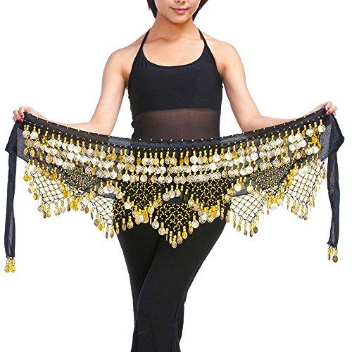 Bauchtanz Glocke Tanz Hip Rock 320 Goldton Münzen Bauchtänzerin Kostüme für Frauen (Entwerfen Von Frauen Halloween-kostüm)