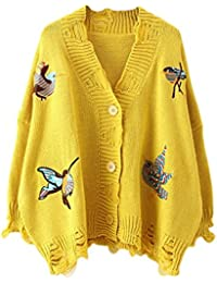Shinekoo Femme Chandail Veste Knit Manteau Broderie Cardigan Bouton Pull  Gilet Jacket 3758301ffd45