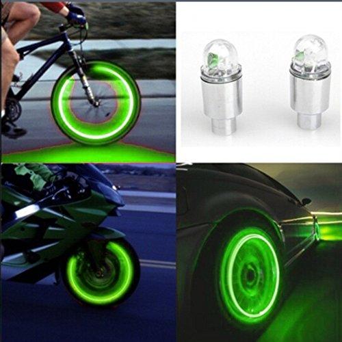 gaddrt Autozubehör Fahrradzubehör Neon Blau Strobe LED Reifen Ventilkappen-2PC (Grün)