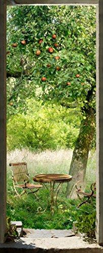 Plage 141025 adesivo per pareti e porte, formato grande, trompe l'oeil porta-picnic en erba, 204 x 83 cm
