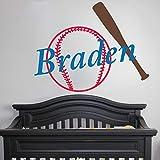EricauBird - Adesivo da Parete in Vinile con monogramma di Baseball e Pipistrello, per cameretta dei Bambini, Decorazione da Parete, Facile da Applicare e Rimovibile