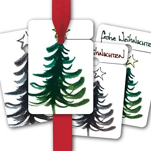 Weihnachts Geschenk Anhänger | Papieranhänger | Geschenk Karten (16Stk) zu Weihnachten mit Designer Weihnachtsbaum: frohe Weihnachten