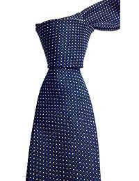 Blacksmith Slim Navy Blue Polka Dot Formal Tie for Men - Navy Blue Jacquard Necktie for Men - Blue Formal Ties for Men