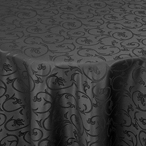Gastro Barock Tischdecke Oval 140x190 cm Schwarz - mit Saumrand - Farbe & Größe wählbar