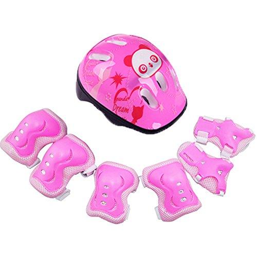 SUPEWOLD bambini della bici equitazione tuta protettiva Gear set ginocchiere, gomitiere, polsiere casco per ciclismo/skateboard/scooter/skate Inline Skating, rosa