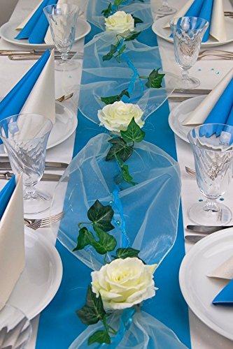 """Fibula [Style] ® Komplettset """"Flair türkis"""" Größe S Tischdekoration für Hochzeit/Taufe/Geburtstag/Kommunion/Konfirmation/Jubiläum in türkis - creme für ca. 8 - 10 Personen"""