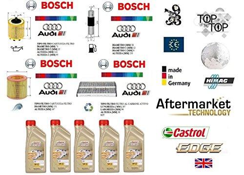 Kit Filtri Tagliando Bosch + 5 Litri Olio Castrol 5W30