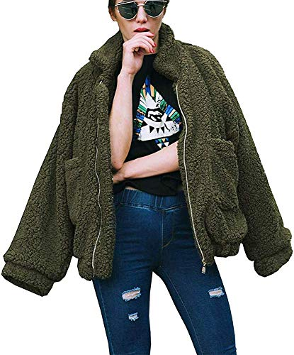 ECHOINE OopStyle Damen Mantel aus Sherpa-Fleece, offene Vorderseite, mit Taschen - Grün - XX-Large -