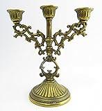 kleiner Leuchter Kerzenleuchter 3-armig dreiarmig MIT PATINA Kerzenhalter gold golden