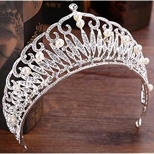 CYY Braut Kopfschmuck Diamant Krone Perle Krone 7 * 30cm Silber halbrunde Haare Krone Hochzeit Zubehör