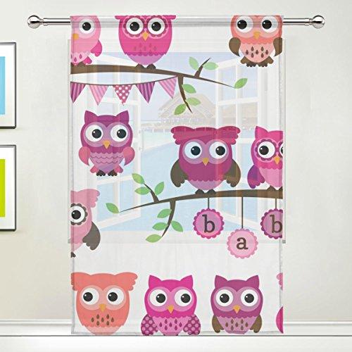 3-panel-bildschirm Zimmer (jstel Eule Muster Floral Print Tüll Voile Tür Fenster Zimmer Sheer Vorhang Tuch 1Panel Schal Volants breit Breite Gaze Vorhang für Schlafzimmer 139,7x 198,1cm, Single Panel, Polyester, 55 x 84 Inch)