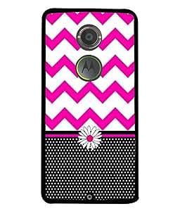 PrintVisa Designer Back Case Cover for Motorola Moto X2 :: Motorola Moto X (2nd Gen) (Black Flower Stripes Zigzag Horizontal)