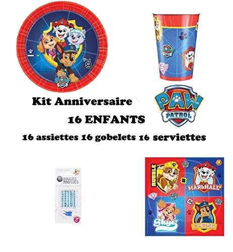 Kit Pat Patrouille 48 pcs pour 16 Enfants Anniversaire (16 Assiettes, 16 gobelets, 16 Serviettes + 10 Bougies Magiques offertes) fête Nouveauté 2019