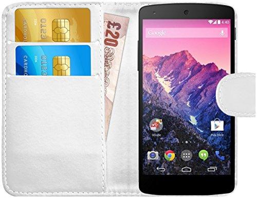 G-Shield Funda para LG Google Nexus 5, Carcasa de Cuero con Ranuras para Tarjetas, Blanco