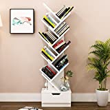 Aufbewahren & Ordnen Einfache Moderne Bücherregal Bücherregal Landung Kreative Baum Form Mit Schublade, 37 * 21,2 * 148 cm (Farbe : White-148cm)