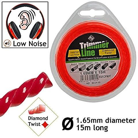 spares2go 1,65mm Faible Bruit Tondeuse Débroussailleuse 15m cordon Brosse Cutter Pro Line