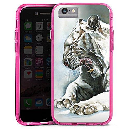 Apple iPhone 6 Bumper Hülle Bumper Case Glitzer Hülle White Tiger Zeichnung Bumper Case transparent pink