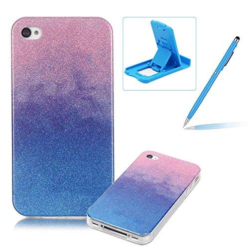 iPhone 4S Hülle Weiches Silikon Glitzer Schutzhülle Tasche Case,iPhone 4 Hochwertig Leicht Gummi Schutz Hoch Handyhüllen Schale Etui,Herzzer Modisch Luxus Silikon Bunt Hülle [Farbverlauf Gradient Farb Rosa und Blau