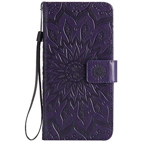 Für Wiko Slide Case, Prägen Sonnenblumen Magnetic Pattern Premium Soft PU Leder Brieftasche Stand Case Cover mit Lanyard & Halter & Card Slots ( Color : Red ) Purple