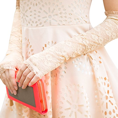 Satin Lange Handschuhe Lycra Schwarze (FakeFace® Premium Fingerlose Spitze Brauthandschuhe Hochzeithandschuhe in Verschiedene)
