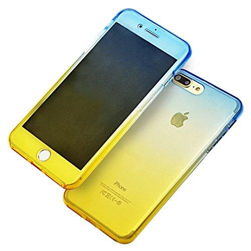 iPhone SE Hülle, iPhone 5s Silikon Hülle, iPhone 5 TPU Hülle, Vandot Double Gradient Farbe Schutzhülle für iPhone SE 5S 5 Full Body Case Cover Touchscreen Bunt TPU Silikon Weich Transparent Beidseitig Gradient Blau Gold