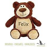 Stofftier Teddy Bär mit NAMEN - Kuscheltier Baby Kinder Geschenk personalisiert mit Wunschnamen in braun