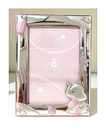 Cornice neonato | elefantino | legno, argento bilamina | 2r argenti (rosa 13x18 cm)