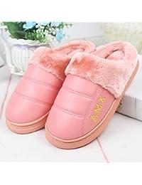 La Sra. algodón zapatillas para hombres invierno cálido felpa gruesa de cuero PU resistente al agua para interiores, grueso antideslizante masculino home stay zapatillas ,40/41 (normalmente 39-40), Rosa
