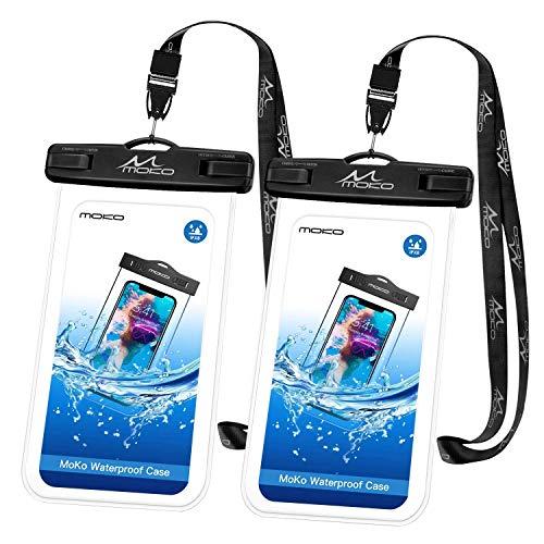 MoKo wasserdichte Handy-Tasche [2er-Pack], Universal-wasserdichte Handyhülle mit Umhängeband für iPhone X/8 Plus/8, Samsung Galaxy S9/S8 Plus, Note 9/8, Moto & mehr, Schwarz + Schwarz