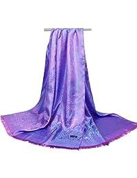 HITSAN INCORPORATION O CHUANG Fashion Silk Scarf Women Paisley Print Shawl  Feather Foulard Femme Hijab Summer Scarves Woman… d3e39c5a0dd