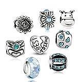 Akki Charm Angebote Beads Set Schwarz Weiß blau grün Rosa/Charms für Pandora Kompatibel Armband Silber Beads Bettelarmband Charms Modele Türkis