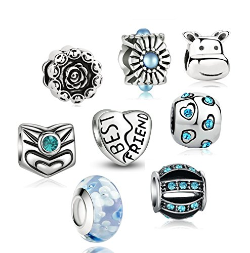 Akki Charm Angebote Beads Set Schwarz Weiß blau grün Rosa/Charms für Pandora Kompatibel Armband Silber Beads Bettelarmband Charms Modele Türkis (Set Pandora Armband Charms Mit)