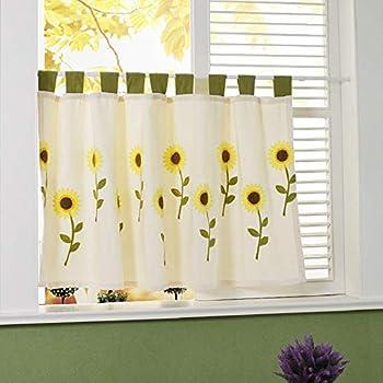 2PC Kitchen Curtain Hand Crochet Cotton Window Curtain Panel Drape Country Style