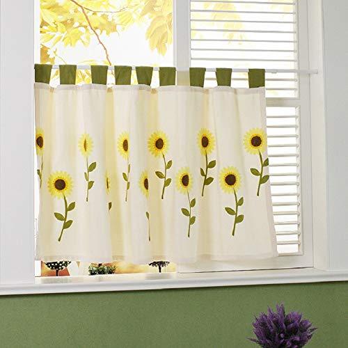 Qucover Stickerei Scheibengardine Küchengardine aus Leinen Bistrogardine mit Sonnenblumen B/H: 150 x 77 cm Landhausstil -