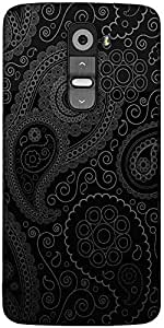 Snoogg Paisely Pattern Black Designer Protective Back Case Cover For LG G2