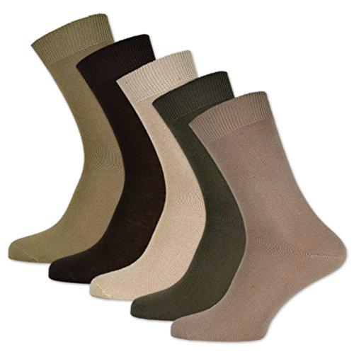 sockenkauf24 10 Paar Damen & Herren Socken 100% Baumwolle ohne Naht und ohne Gummidruck versch. Sortierungen (39-42, Beige) -
