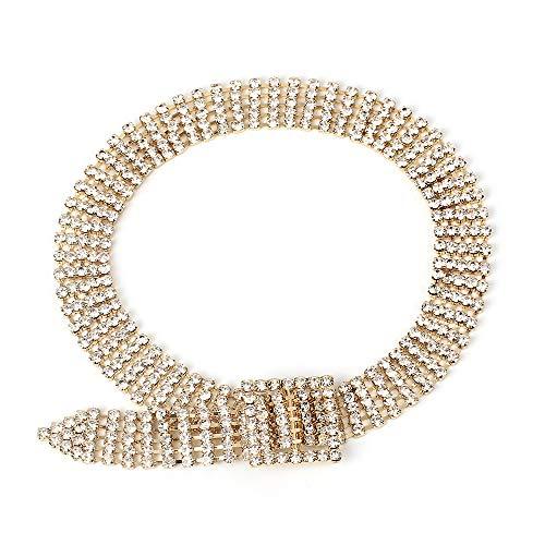 Smilelady Damen Halskette Voller Diamant super blinkende goldene Schlüsselbeinkette Weihnachten Geschenk Valentinstag Jubiläum Jubiläen (Weihnachten Blinkende Halsketten)