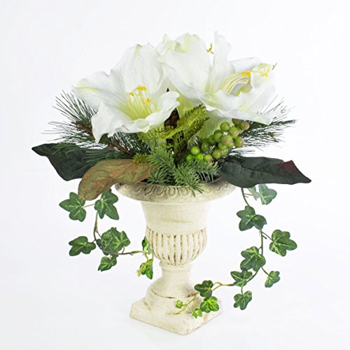 artplants Amaryllis-Arrangement im Keramiktopf, weiß, Ø 30 cm, 35 cm – Kunstblume/Dekoblume