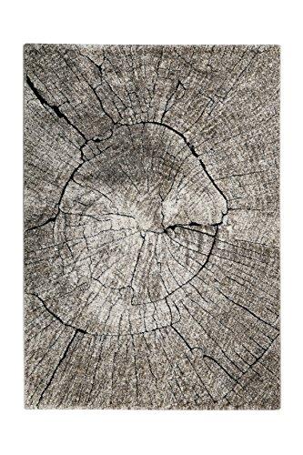 Moderner Kurzflor Designer Teppich in pflegeleichter Holzoptik (beige-braun-schwarz, 80 x 150 cm) (Teppiche Aus Der Türkei)
