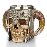 Ydlxl Creativo Commercio Estero Doppio Manico Corno Grande Tazza in Acciaio Inox 304 Teschio Cranio Tazza di caffè in Resina
