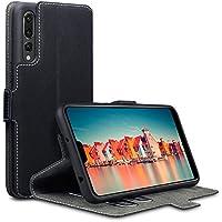 Huawei P20 Pro Hülle, Terrapin Leder Tasche Case Hülle im Bookstyle mit Standfunktion Kartenfächer für Huawei P20 Pro Hüllen - Schwarz
