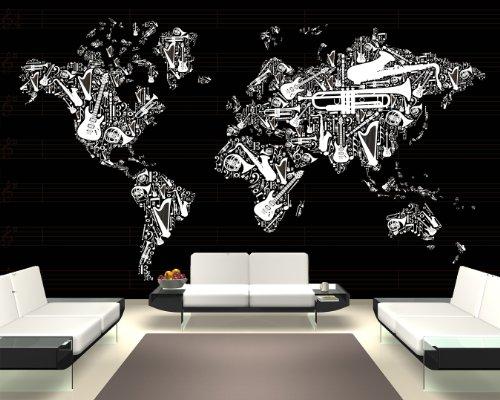 Bilderdepot24-selbstklebende-Fototapete-Weltkarte-Musik-sephia-230x150-cm-direkt-vom-Hersteller