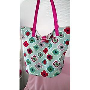 Ausgefallene Bade-/Strandtasche aus Softshell Mintgrün-Pink-Floral Neu