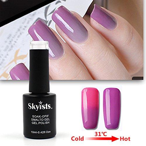 Skyists 10ML Temperatur Farbwechsel Chameleon Nail Art UV LED Gel Änderung Farben Tränken Weg Lack Kunst Nailgel (Pink-08) (Temperatur ändern Led-lampen)