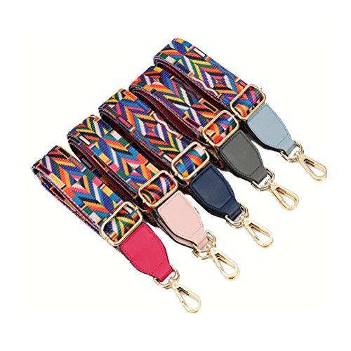 Umily Damen Taschengurt Bunter Schultergurt Tragegurt 85 cm -135 cm einzigartiges und stilvolles Zubehör für alle Schultertaschen, Tragetaschen und Handtaschen-Rosa Blau