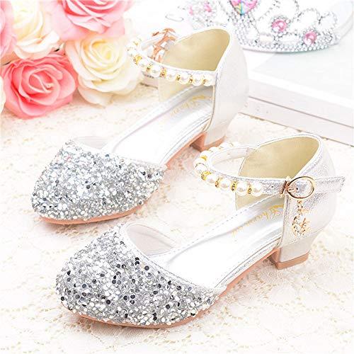 Yzibei sognare scarpe da bambina per bambini glitter per principessa sandali per feste scarpe da ballo per balletto (little kid/big kid) rosa (colore : argento, dimensione : 38 2/3 eu)