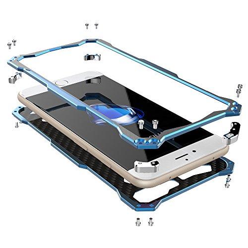 iphone 7 Plus hülle, G-i-mall Hybride Aluminium Metal Bumper Case Cover Luxus Metallrahmen Tasche Schutzhülle für Apple 7 Plus 5.5 Zoll Handy Armor Schwarz Blau