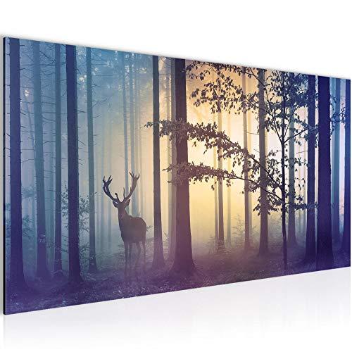 Bilder Wald Hirsch Wandbild Vlies - Leinwand Bild XXL Format Wandbilder Wohnzimmer Wohnung Deko Kunstdrucke Blau 1 Teilig -100% MADE IN GERMANY - Fertig zum Aufhängen 013412a