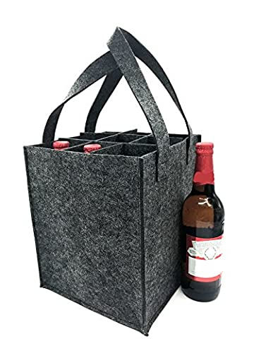 iZoeL Wine Bottle Bags Can Beer Drink Carrier Tote Carry Case Holder Reusable Washable with Removable Divider Made of Felt 9