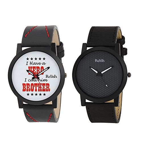 RELISH RE-1144COM Black Slim Analog Watches Combo Pack of 2